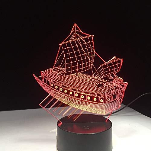 orangeww Beleuchtung 3d Nachtlicht/Nachtlicht 3d Illusion / 7 Farben Auto Ändern/Halloween Geschenk/Piratenschiff