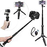 WiHoo Bastone Selfie Stick Con Treppiedi E Bluetooth Remote Control Per Gopro/ Macchina Fotografica /iPhone 5/6/7 Plus/Samsung Smartphone (5-in-1 Accessori For Gopro, Cellphone, Macchina Fotografica)