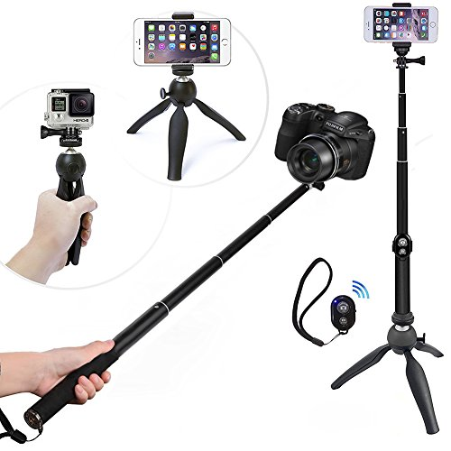 WiHoo Palo Selfie Stick Con Trípode Y Bluetooth Remote Control Para Gopro/ Cámara /iPhone 5/6/7 Plus/Samsung Smartphone (5-in-1 Kit/Accessories For Gopro, Cellphone, Cámara)