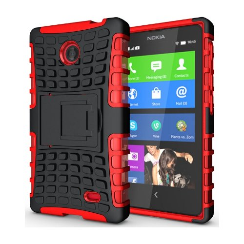 Heartly Flip Kick Stand Hard Dual Armor Hybrid Bumper Back Case Cover For Nokia X X+ Dual Sim Plus Android A110 - Red  available at amazon for Rs.399