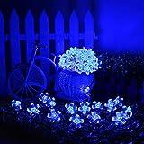 LEDMOMO 50 LED Flores Guirnalda Luminosa Cadena de Luces Solar Exterior Impermeable (Azul Flor de Cerezo)
