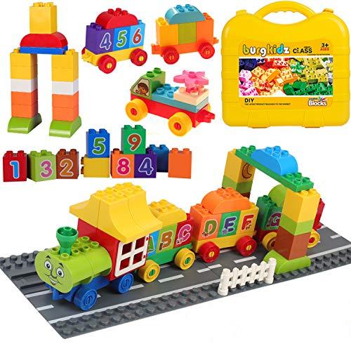 burgkidz Zug Baustein Spielzeug, 62 Stücke Bricks Enthalten Zahlen Aufkleber mit Straßenbau Bodenplatte und Aufbewahrungsbox für Kinder, Kompatibel zu den Meisten Großen Markenblöcken - MEHRWEG - Lego Grundplatten Großen