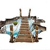 Vitila Mode Aufkleber Dekoration Wohnzimmer Schlafzimmer Bad 3D Wandaufkleber Lufthängebrücke PVC Abnehmbare Wandmalereien Wandtattoos