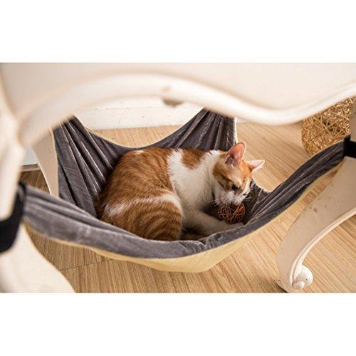 Katzen-Hängematten-Bett - weiche warme und bequeme Haustier-Hängematte Gebrauch mit Stuhl für Kätzchen, Frettchen, Welpe oder kleines Haustier (Khaki)