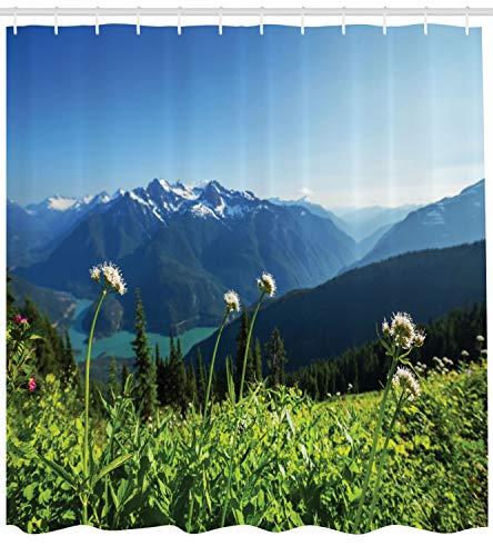 ABAKUHAUS Berg Duschvorhang, Diablo Lake Löwenzahn, mit 12 Ringe Set Wasserdicht Stielvoll Modern Farbfest und Schimmel Resistent, 175x240 cm, Himmelblau Grün (Diablo Ring)