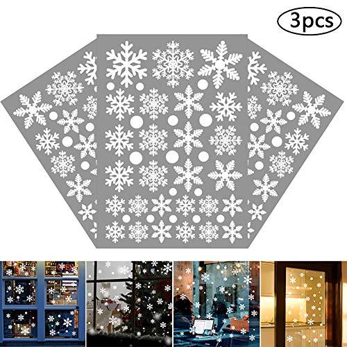 Bestzy vetrofanie fiocchi 3pcs vetrofanie fiocchi di neve adesivo rimovibile murali da parete fai da te decorazione vetrina sticker fiocco di neve albero di buon natale per casa negozi