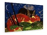 Franz Marc - Zwei Katzen - 1913-60x40 cm - Textil-Leinwandbild auf Keilrahmen - Wand-Bild - Kunst, Gemälde, Foto, Bild auf Leinwand - Alte Meister/Museum
