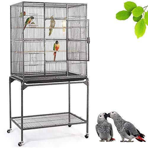 Yaheetech Gabbia Voliera Grande per Uccelli Pappagalli Roditori in Metallo e Legno con Ruote Posatoi e Ciotole Nera 81 x 47 x 160 cm