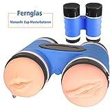 EBAT Masturbieren mann, 3D Realistische Doppel Cup masturbatoren Manner in 1 Sexspielzeug für Männer- oral sex und Vagina sex Musturbation Manuelle Cup-Masturbatoren (telescope)