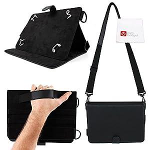 """Découvrez cet étui 3 en 1 DURAGADGET en cuir noir idéal pour transporter et utiliser votre tablette tactile.  Cet étui est tout simplement le meilleur compromis entre une sacoche, un étui """"stand"""" et un étui """"strap"""" Grâce à son stand de maintien, vous..."""