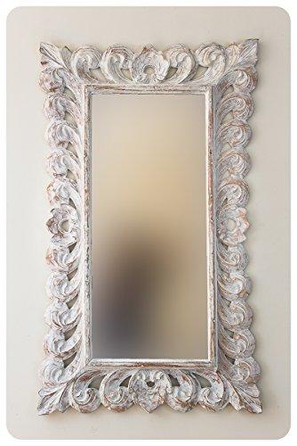Espejo Decorativo Madera Bolong Kadek 60x100cm Blanco