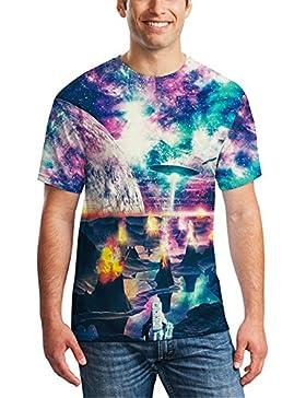 Hombres volcán impresión en color UFO 3D cielo informal de manga corta de la camiseta floja