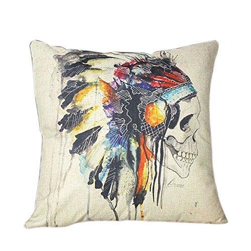 waygo Indian Skull Baumwolle Überwurf Kissenbezug Sofa Home Decor (A) - Baumwolle Indian Werfen