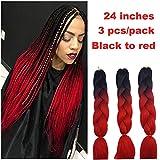 Showjarlly Jombo tressage Cheveux synthétiques 100 g/PC 61 cm Long Kanekalon africain tresses extension de cheveux 3 pcs/lot