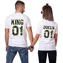 King Queen Camiseta Shirt Camuflaje Tees Thirts Pareja par 2 Piezas Manga  Corta Estampado diseño Regalo c88ba05e17192