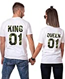 King Queen Tshirt Shirt Camouflage Tees Thirts Couple Paire 2 Pièces Manches Courtes...