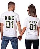 King Queen Tshirt Shirt Camouflage Tees Thirts Couple Paire 2 Pièces Manches Courtes Imprimé Motif Cadeau Anniversaire Été(Blanc,King-01-M+Queen-01-S)