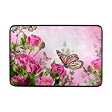 COOSUN Schmetterlinge Blossom schönen Blumen Rosen Fußmatte, Entry Way Indoor Outdoor Tür Teppich mit Rutschfeste Unterseite, (23,6von 39,9cm)