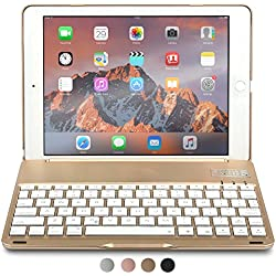 iPad Air 2 Custodia con Tastiera, COOPER NOTEKEE F8S Custodia A Guscio Rigido con Tastiera Bluetooth QWERTY con retroilluminazione a 7 colori per Apple iPad Air 2 (Oro, Funzione Sleep/Wake)