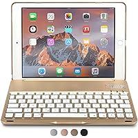 iPad Air 2 Custodia con Tastiera, COOPER NOTEKEE F8S Custodia A Guscio Rigido con Tastiera Bluetooth QWERTY con retroilluminazione a 7 colori per Apple iPad Air 2 (Oro, Funzione Sleep/Wake) - Braccio Dell'asta Asta Del Microfono