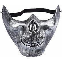 AprilElst Cráneo Esqueleto Máscara Media Cara Caza Proteger Equipo Airsoft Halloween Máscara para Cosplay Party Dress Prom de Plata