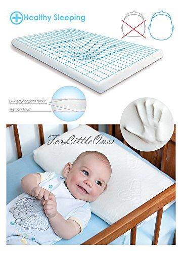 BabyMatex ** MEMO Thermoaktives Babykopfkissen inkl. Bezug ** Antiallergisches MEMORY FOAM Kopfkissen **