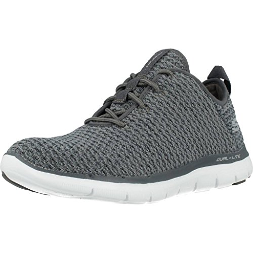 Skechers Flex Appeal 2.0-Bold Move, Baskets Enfiler Femme, Gris (Charcoal), 36 EU