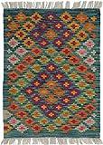 Nain Trading Kelim Afghan 87x66 Orientteppich Teppich Dunkelgrau/Braun Handgewebt Afghanistan