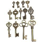 Yongse Bloqueo del arco 13pcs vieja mirada de la vendimia de la antigüedad de la llave maestra Lote Conjunto colgante del corazón de Steampunk Jewel