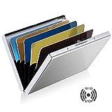#9: Dahsha Slim RFID Credit Card Protector Wallet, Stainless Steel Aluminum Metal Holder Case with 6 PVC Slots (Sliver)