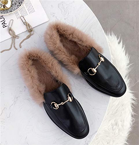 ZHAOXIANGXIANG Frauen In Herbst Und Winter Tragen Hausschuhe Baotou Mit Flachem Boden Muller Schuhe Mode Semi Hausschuhe, 36, Klassischen Stil