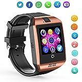 ZRSJ Smart Watch Q18 Bluetooth Sweatproof Touch Screen Mit Kamera SIM-Karten-Slot Pedometer Fitness Activity Tracker Smartwatch für Android IOS iPhone Smartphones für Kinder Mädchen Jungen Männer Frauen(Golden)