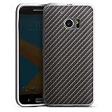 HTC 10 Silikon Hülle Case Schutzhülle Carbon Look Schwarz Grau Metal