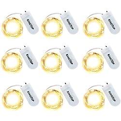 Lichterkette 20er LED Drahtlichterkette Batterie-betrieben Silberdraht Warmweiß Wasserdicht lichterkette für Party Fest Beleuchtungdeko Weihnachtendeko (9 pack)