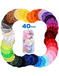 Velvet Hair Scrunchies, 40Pcs Colorful Elastic Hair Ties Scrunchy, Ponytail Holder Bands for Women Girls Hair Accessories with Storage Bag