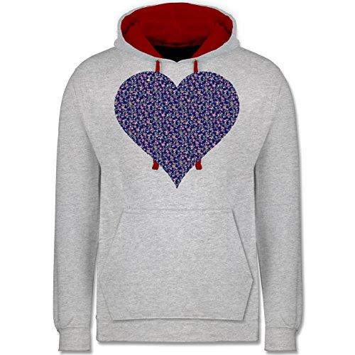 Vintage - Herz Blumen dunkelblau - Kontrast Hoodie Grau Meliert/Rot