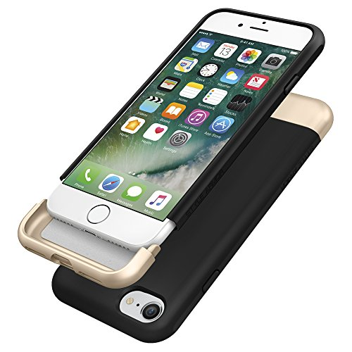 Coque iPhone 7, Spigen® [Style Armor] SOFT-Interior Metallic Finished Base with Dual Layer Protection Coque Pour iPhone 7 (2016) - Noir Noir