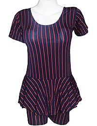 I-Swim Ladies Swimming Costume Dark Blue with Red Stripes