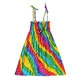 JUTOO Säuglingskindermädchenbaby-Kleidungs-Nationale Art mit Blumenböhmisches Strandgurt-Kleid (Himmelblau,160)