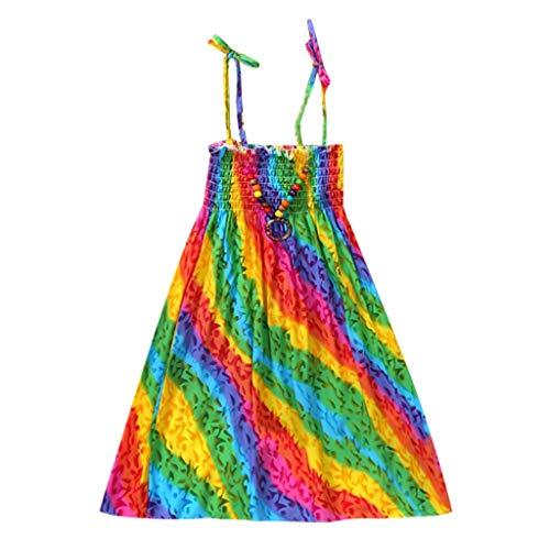 JUTOO Säuglingskindermädchenbaby-Kleidungs-Nationale Art mit Blumenböhmisches Strandgurt-Kleid (Himmelblau,130)