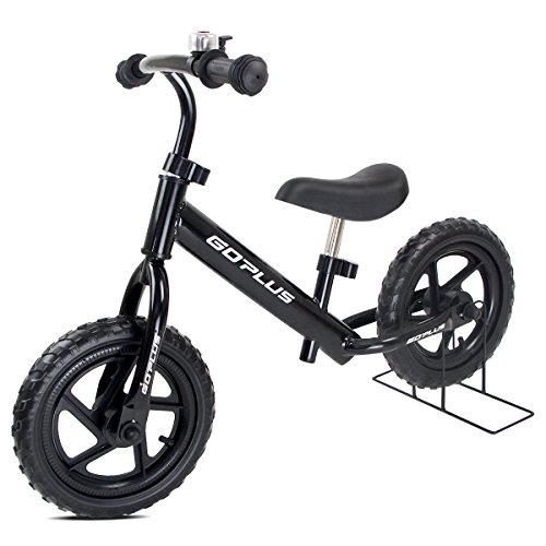 """COSTWAY 12\"""" Laufrad, Balance Fahrrad höhenverstellbar, Balance Bike aus Stahl, Kinderlaufrad mit Klingel, Lernlaufrad 50KG belastbar, Lauflernrad ab 3 Jahre, Kinder Fahrrad 87x44x58,5cm (schwarz)"""