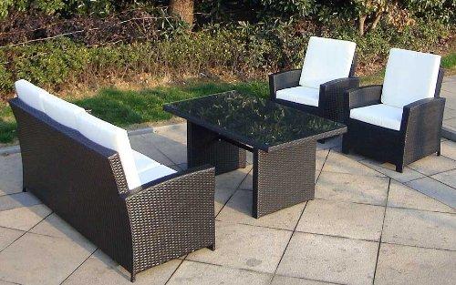 Baidani Gartenmöbel-Sets 10c00039.00001 Designer Rattan Lounge-Garnitur Comfort, 3-er-Sofa, Sessel, Auflagen, Rückenkissen, 1 Tisch mit Glasplatte, schwarz - 4