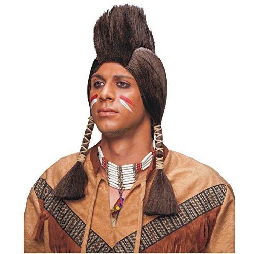 Kostüm Indianer Perücke Zubehör - Indianer Perücke mit Iro braun Kostüm Zubehör Indianerperücke Zöpfe Irokese