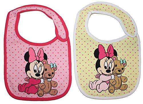 2er Pack Disney Baby Minnie Maus Lätzchen (Gelb/Rosa)