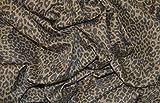 """Marrón de leopardo Punk tejido elástico algodón elastano de sarga MATERIAL 58""""ancho por el metro"""