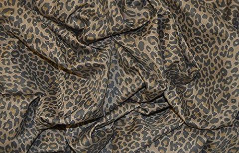 Marron Leopard Punk Tissu imprimé stretch sergé de coton élasthanne Matériau 147,3cm de large Au mètre