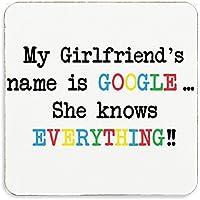 Mi novias nombre es Google ella sabe todo posavasos de corcho comprés aniversario regalo de cumpleaños