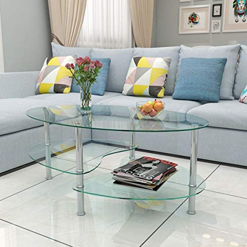 Generic ripiani scaffali in acciaio INOX gambe trasparente Stora gambe caffè caffè tavolo in vetro trasparente in grado di ST tavolo ovale da tavolo in vetro ripiani portaoggetti