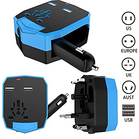 FOGEEK Worldwide Travel Adapter w/ CAR CHARGER : International Plug [US UK EU AU] with Dual USB Charging Ports, Car Charger Safety Fused Charger for Mobile Phone/Tablet/Camera/Laptop All in One in 150+ Countries