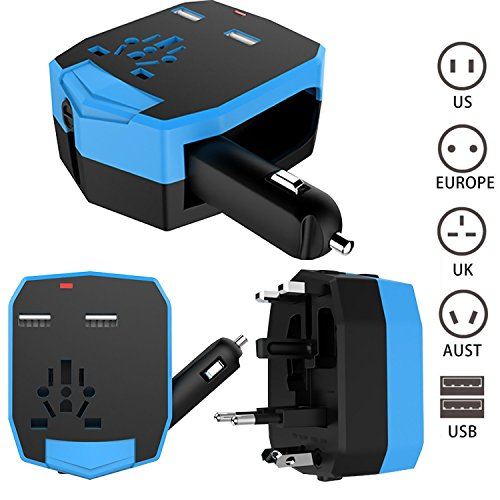 Adaptador de viajes universal : FOGEEK el adaptador del recorrido por todo el mundo US/UK/EU/AU con 2 USB para cargar tablet PC, smartphones, cámaras digitales, reproductores de MP3 Cargador de viaje/adaptador de enchufes universal   Azul